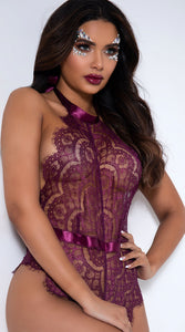 Purple lace bodysuit with a halter neckline