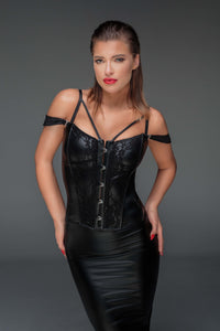 Wetlook lace corset with an impressive design