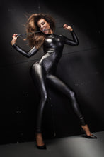Sassy power wetlook crotchless catsuit