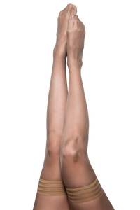 Champagne thigh-high tights with a non-slip grip