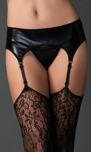 Wet look suspender belt