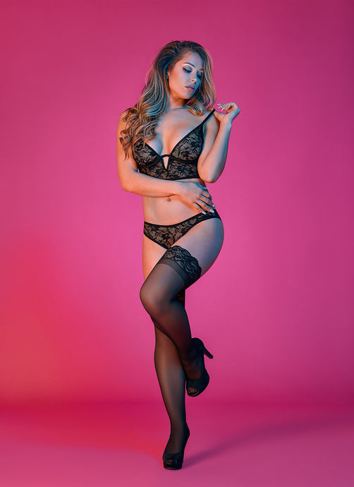 Black sheer bra and panty set