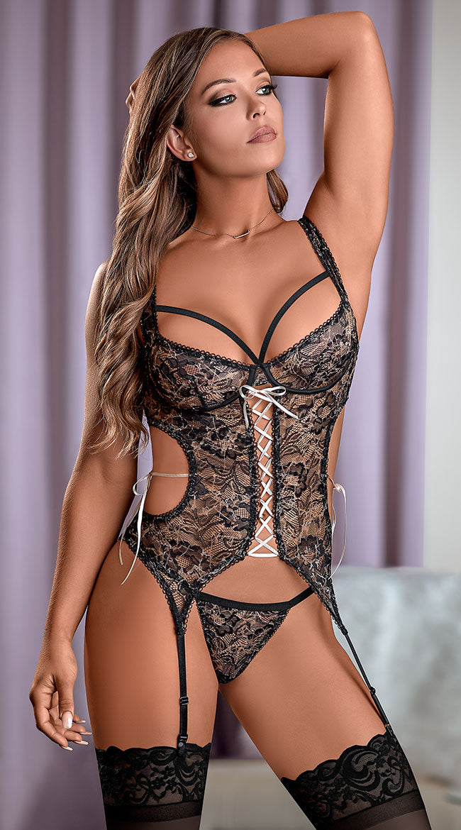 Sexy lace bust and thong set