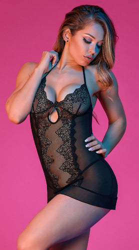Sexy black lace chemise set