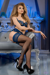 Black stockings with blue top