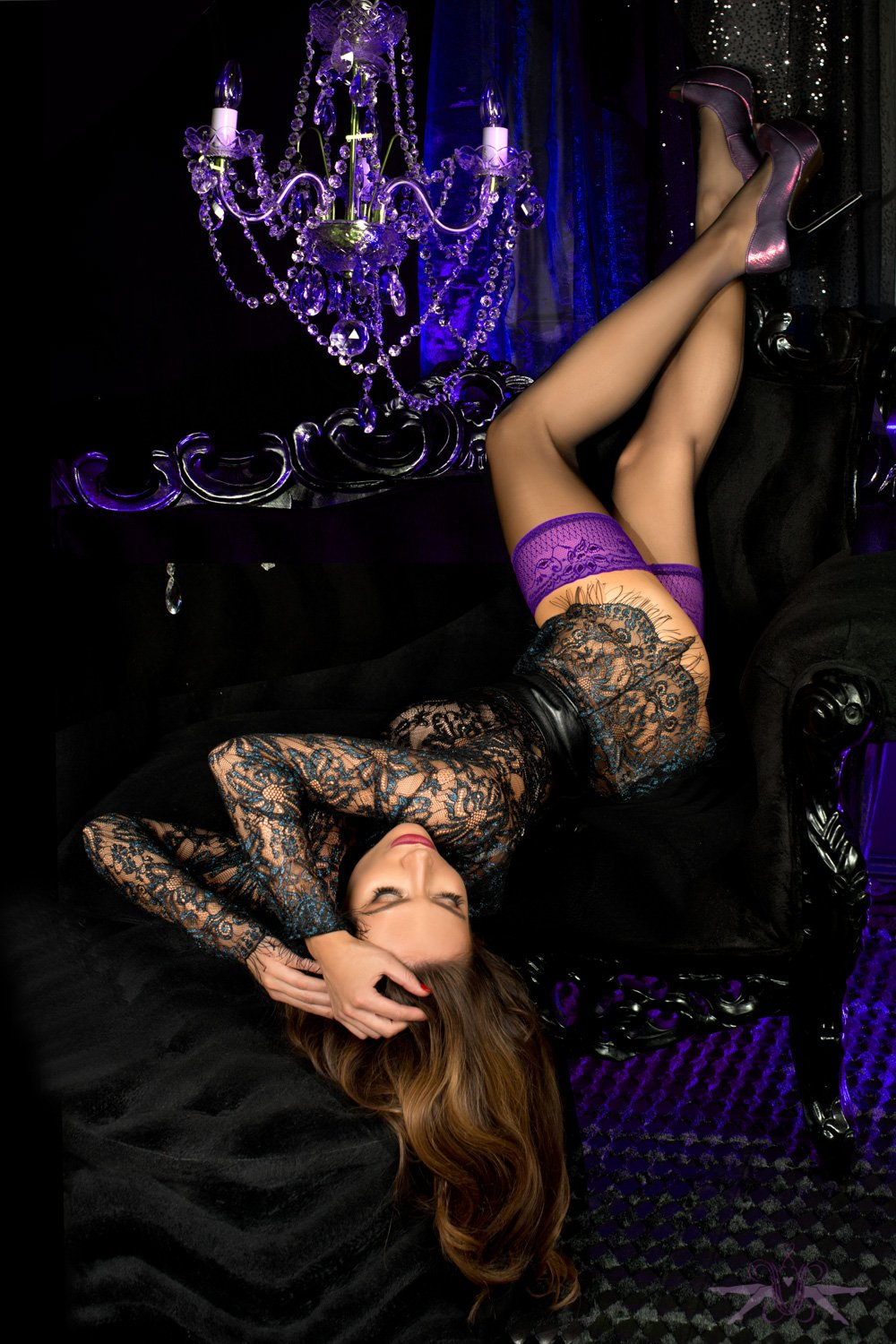 Black nylon stockings with violet top