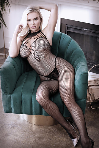 Lace Strappy Halter Fishnet Bodystocking