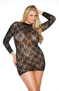Exclusive black lace plus size dress with rhinestones