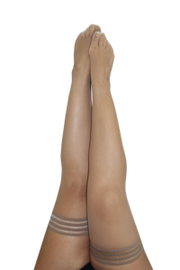 Nude fishnet thigh-highs with a non-slip grip