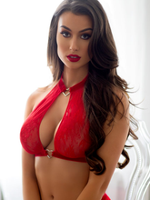 Sexy red bra set with lace halter neck