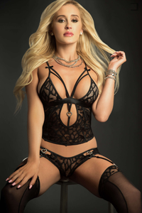 Seductive black cami set with stockings