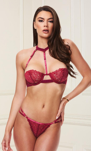 Sexy balconette strappy bra set
