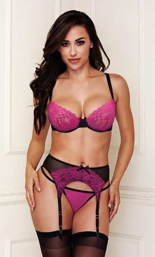Stunning black and pink bra set