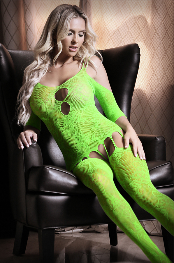 Sheer neon green bodystocking