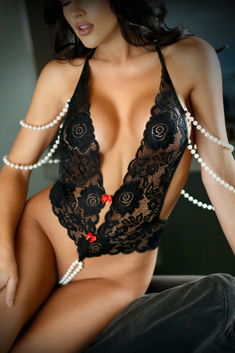 Crotchless lace bodysuit with pearls
