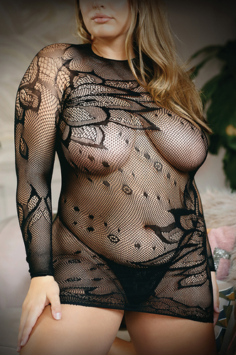 Provocative plus size fishnet dress