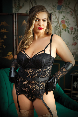 Exquisite caged push up plus size bustier set