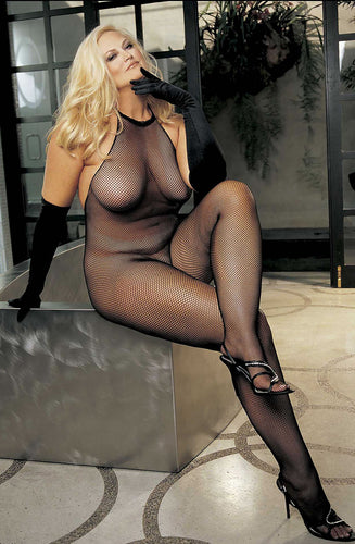 Slinky fishnet plus size bodystocking with a halterneck