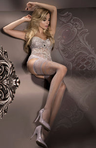 Elegant silver tights with patterned design