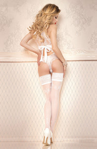 Elegant bridal stockings with silver dots