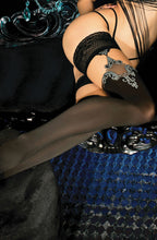 Extravagant black stockings with jacquard and floral design