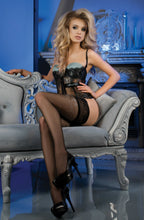 Lace top black stockings with grey pattern