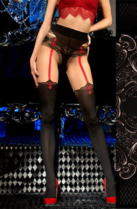 Glamorous black and red pantyhose
