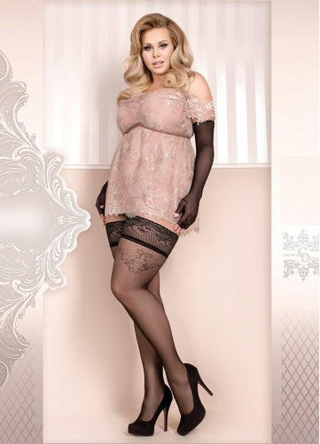 Alluring plus size stockings with bow and floral pattern