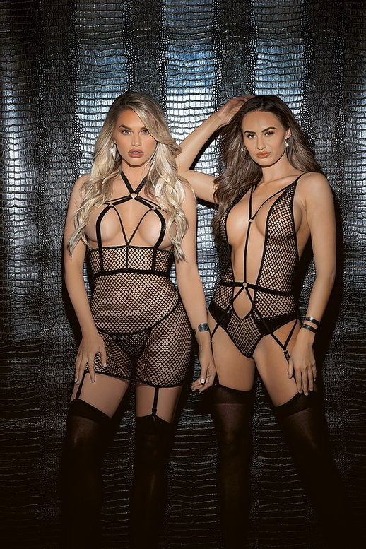 Fishnet bodysuit with strappy detail