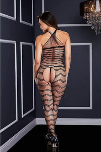 Criss-cross crotchless bodystocking