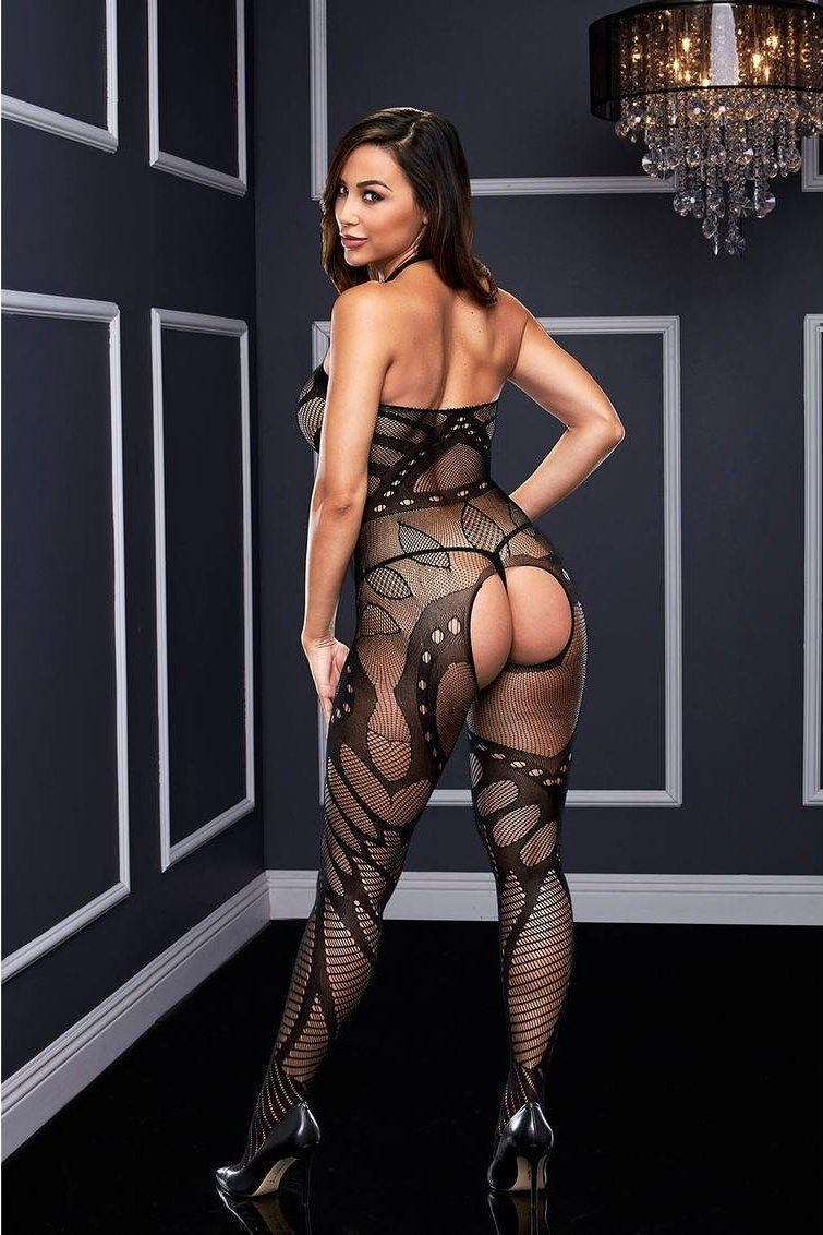 Crotchless floral bodystocking