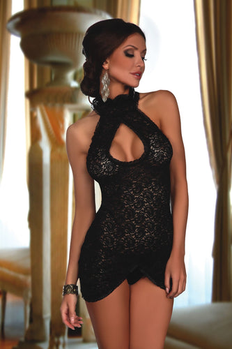 Seductive mini dress with a halterneck