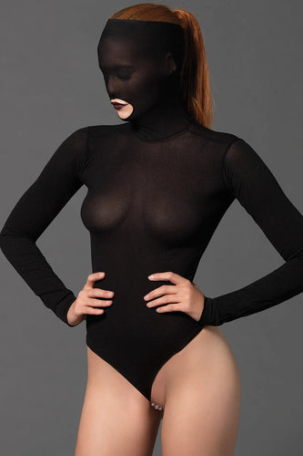 Sexy crotchless opaque bodysuit with beaded g string