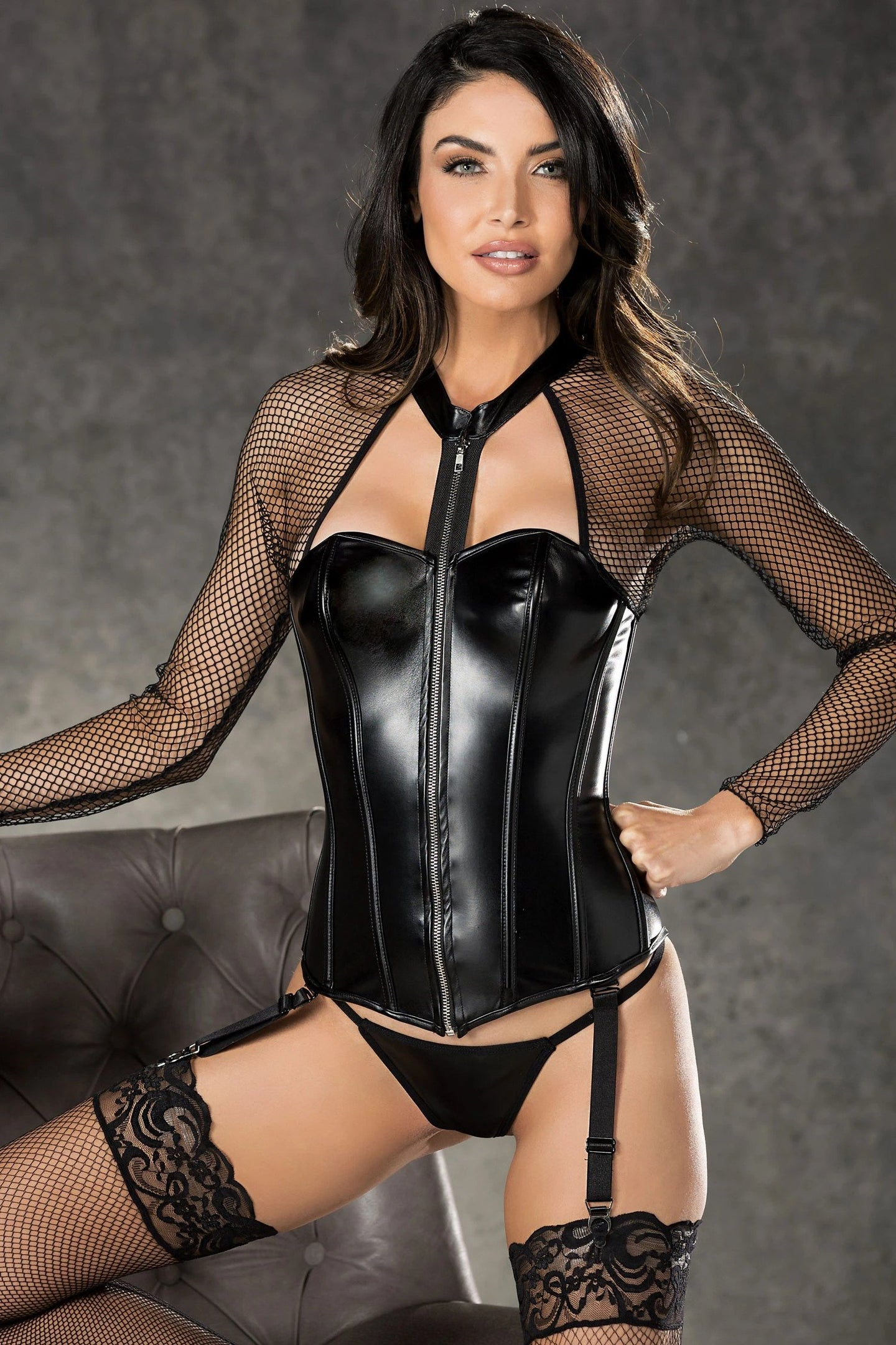Hot faux leather and fishnet corset set