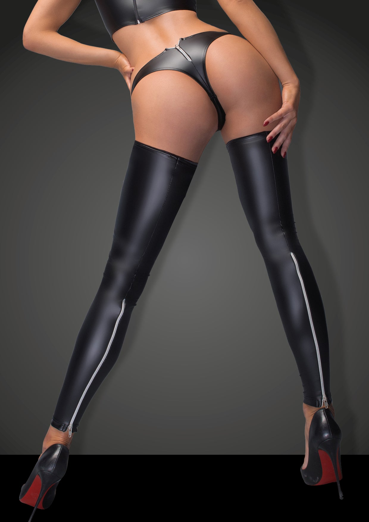 Sexy wetlook stockings with silver zip