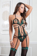 Sexy emerald strappy bodysuit
