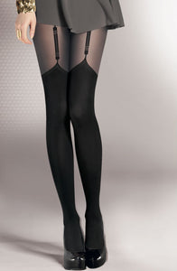 Faux suspender black tights