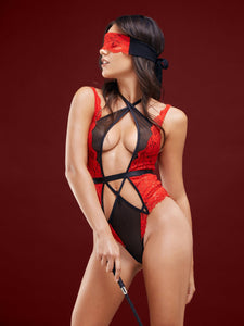 Designer black and red Vamp bodysuit
