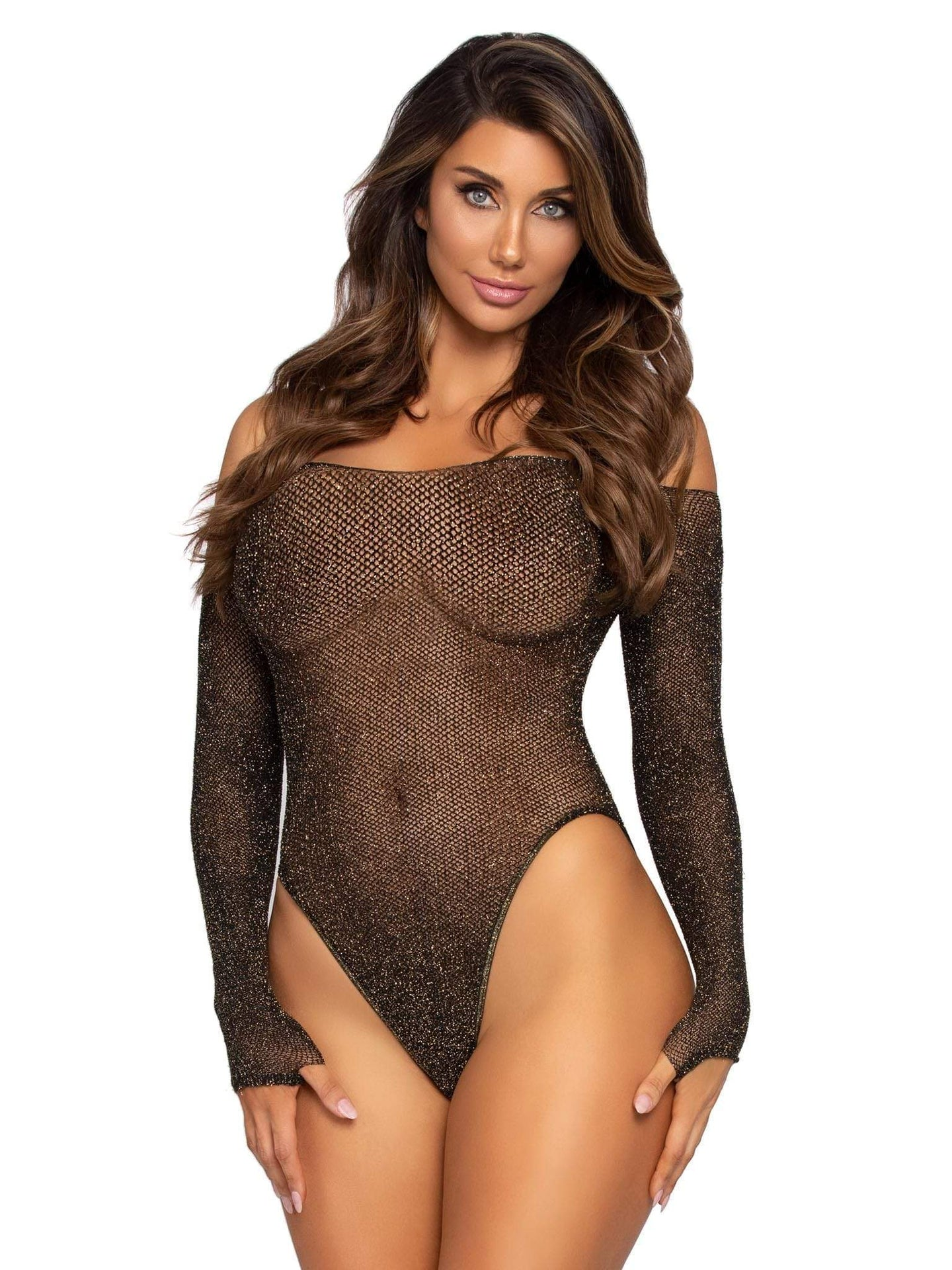 Seamless lurex fishnet bodysuit with snap crotch