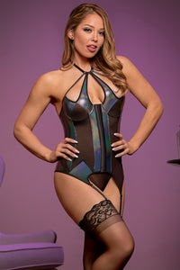 Black metallic bustier and g-string set