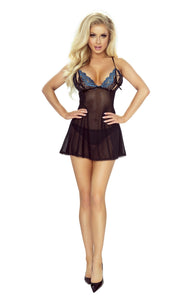 Provocative black and sapphire cupless babydoll