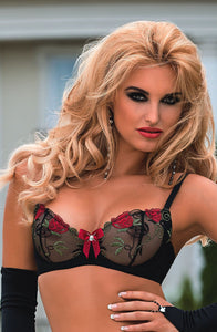 Stunning sheer black and red floral bra