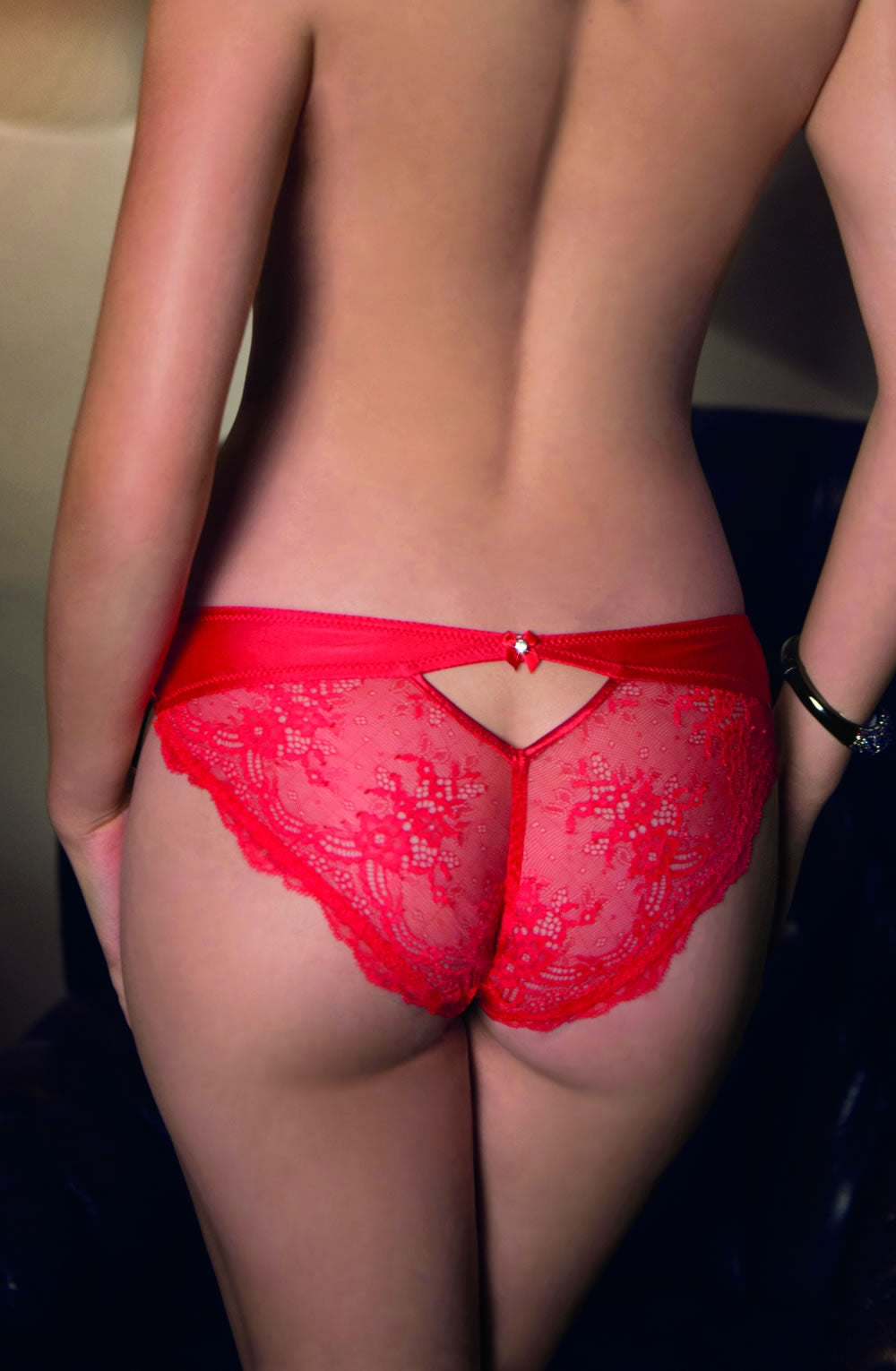 Alluring lace brief with diamante detail