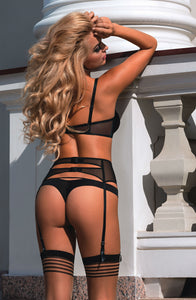 Black thong with sparkling effect