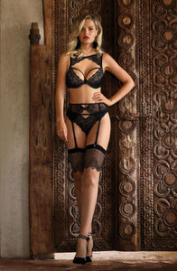 Elegant sparkling black suspender belt