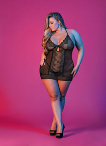 Sexy black lace plus size chemise set