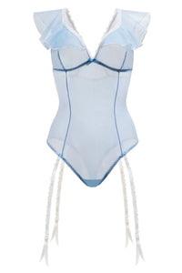 Hot light blue sheer bodysuit with ruffles