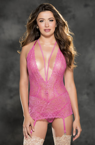 Beautiful lace gartered chemise with rhinestones
