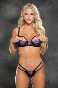 Sheer embroidered Bra Set