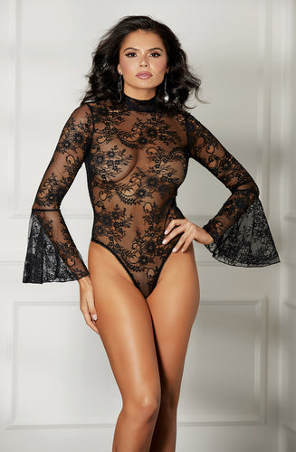 Gorgeous delicate lace bodysuit with bell sleeves